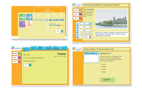 screenshots of the universal learner application